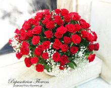 100 Red Roses Basket
